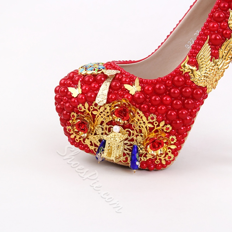 Fringe Red Slip-On Platform Wedding Shoes