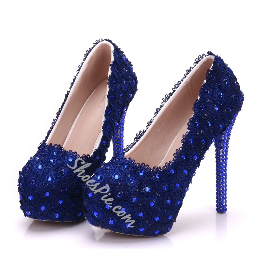 Floral Rhiestone Blue Wedding Shoes