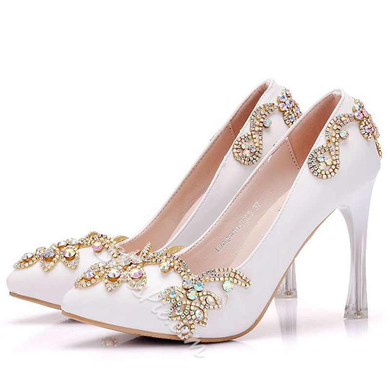 Rhinestone Slip-On Stiletto Heel Wedding Shoes