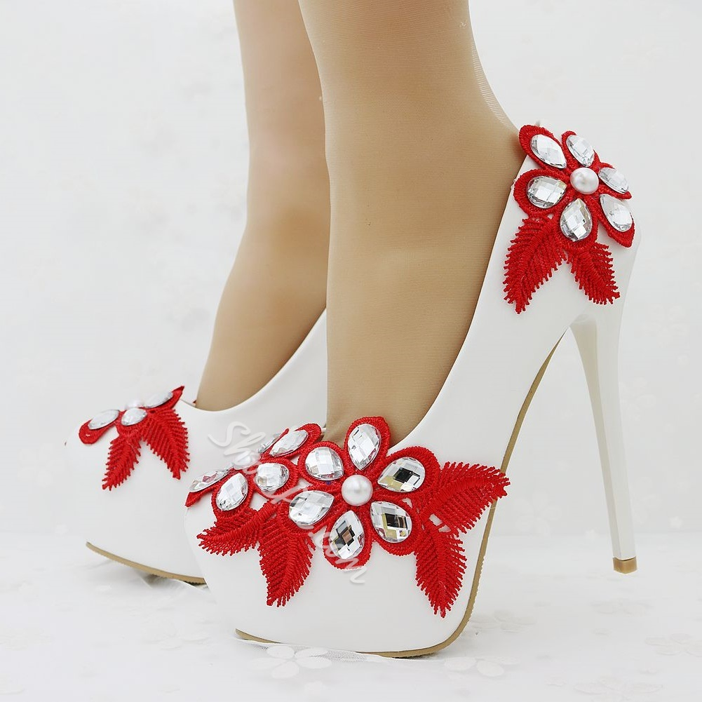 Rhinestone Floral Platform Wedding Shoes