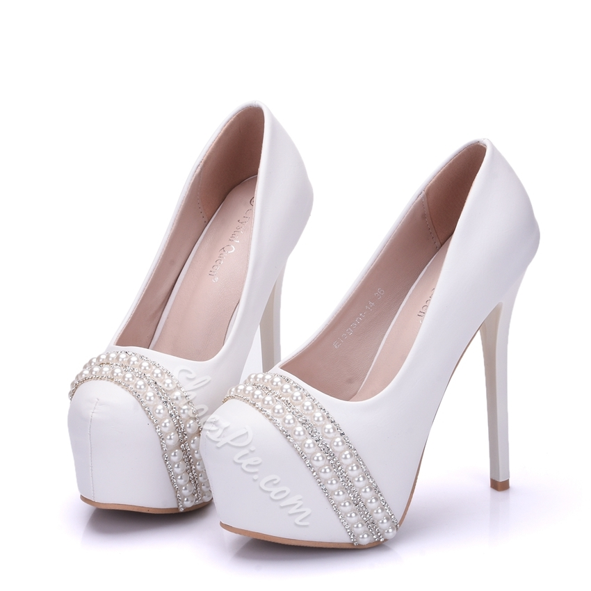 Rhinestone Platform Stiletto Heel Wedding Shoes