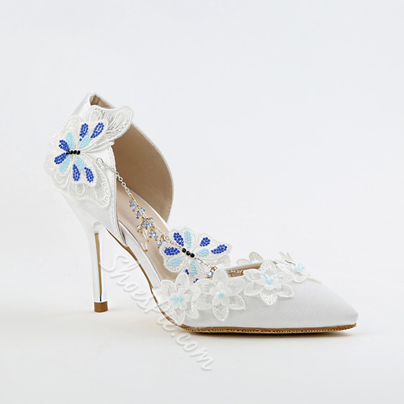 White Floral Slip-On Wedding Shoes