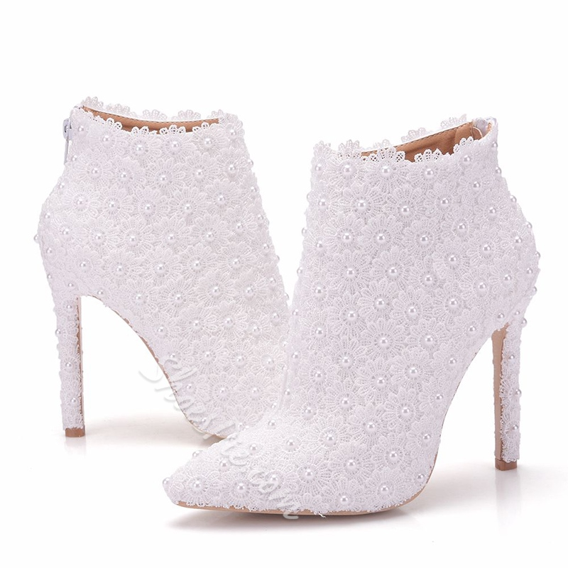 White Stiletto Heel Bead Wedding Boots
