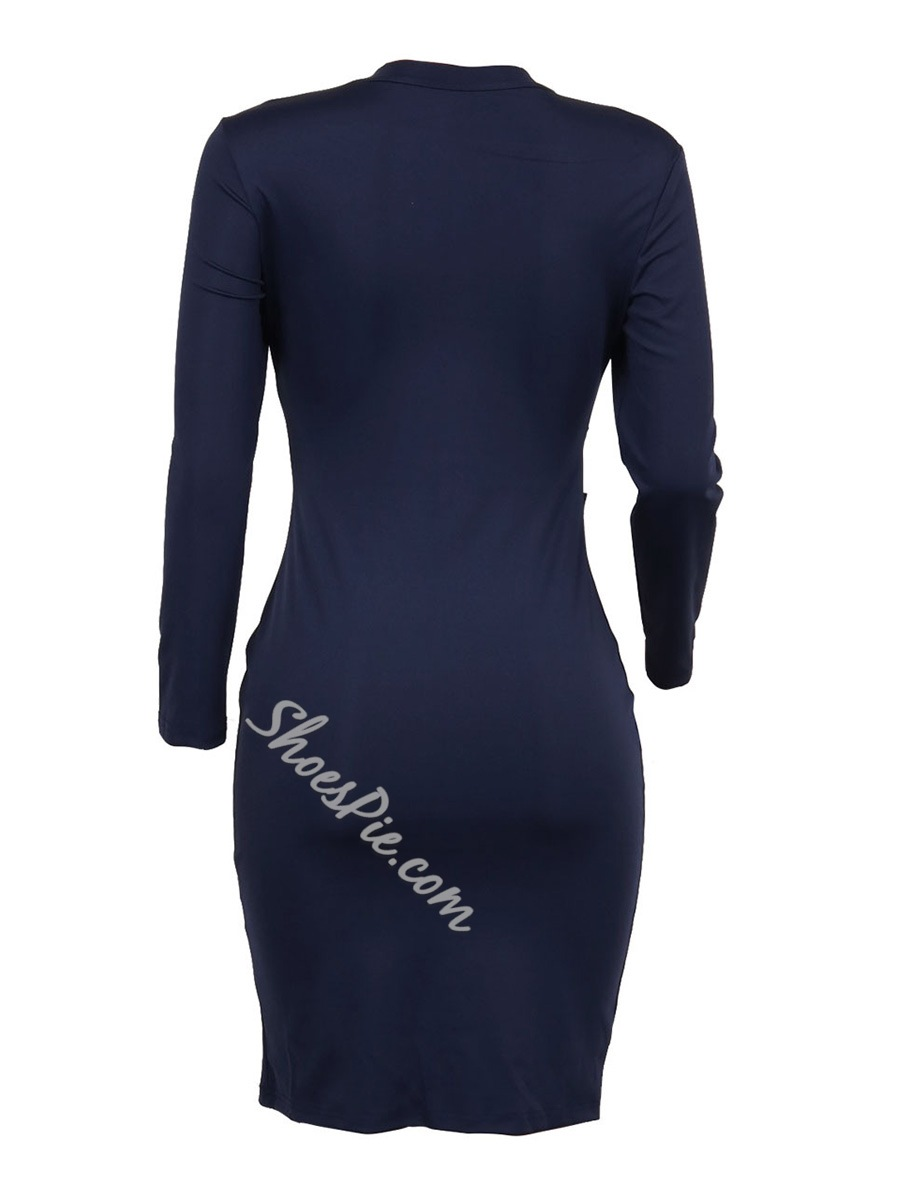 Stand Collar Hollow Long Sleeve Bodycon Dresses
