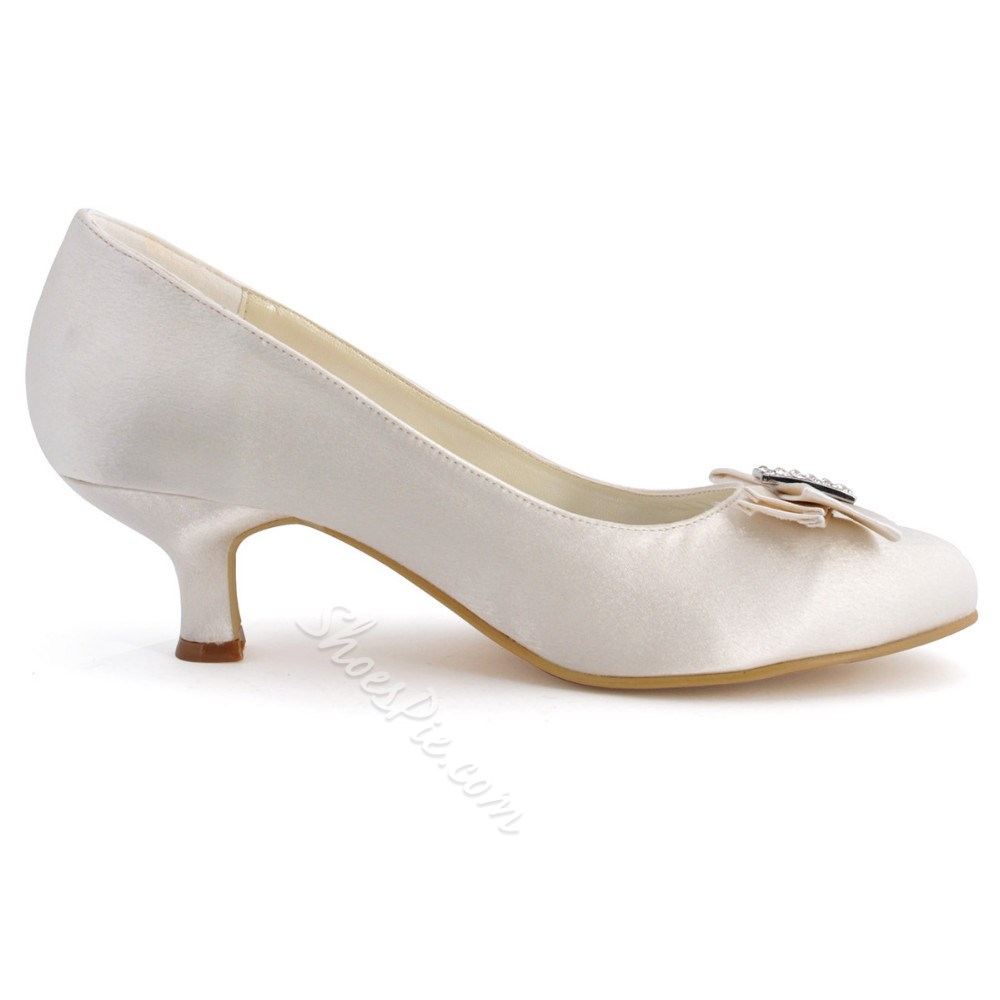 White Bow Rhinestone Slip-On Wedding Shoes