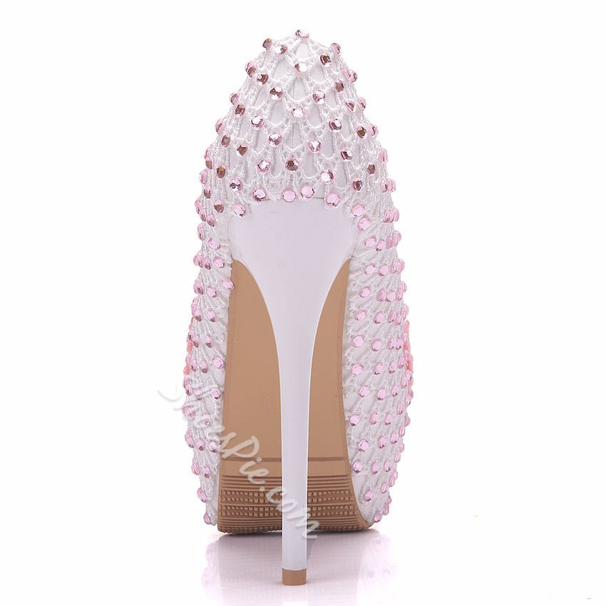Rhinestone Floral Slip-On Wedding Shoes