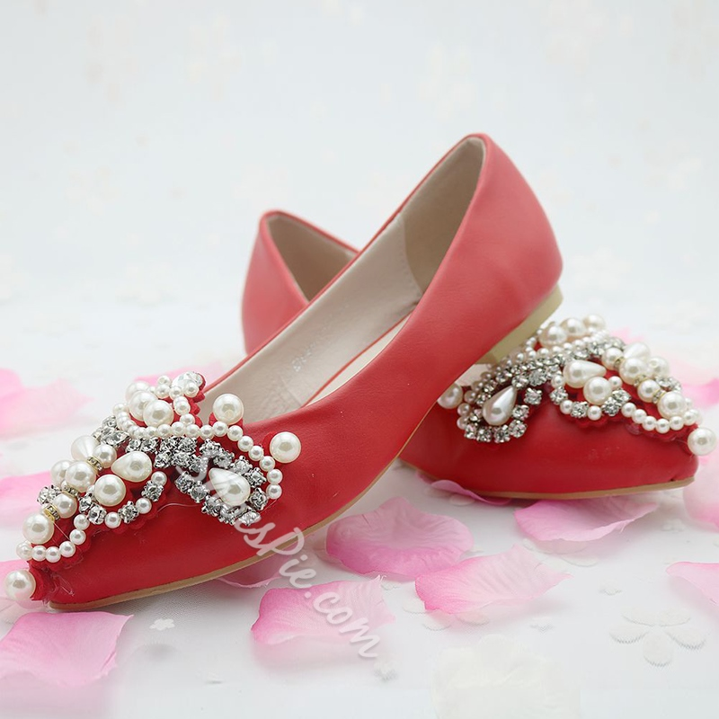Shoespie Rhinestone Beads Slip-On Wedding Shoes