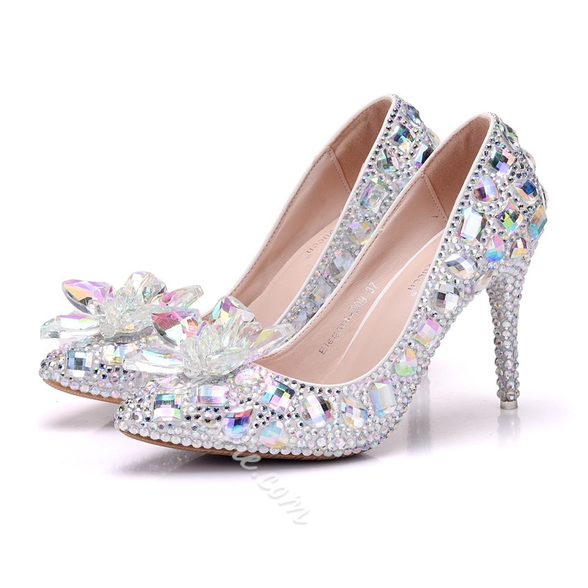 Rhinestone Slip-On Stiletto Heels
