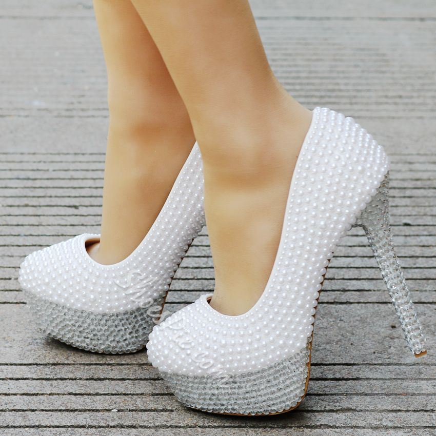 White Beads Platform Stiletto Heel Wedding Shoes