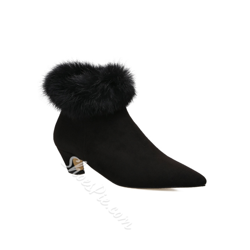 Fashion Black Fluff Chunky Heel Boots