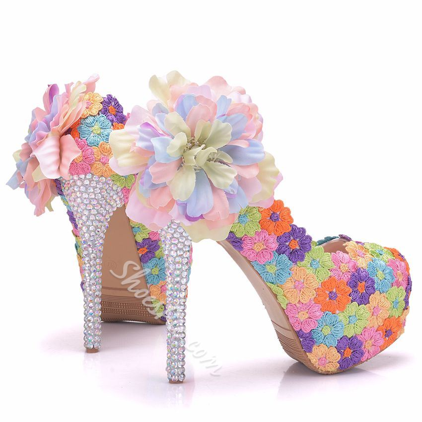 Shoespie Floral Rhinestone Platform Wedding Shoes