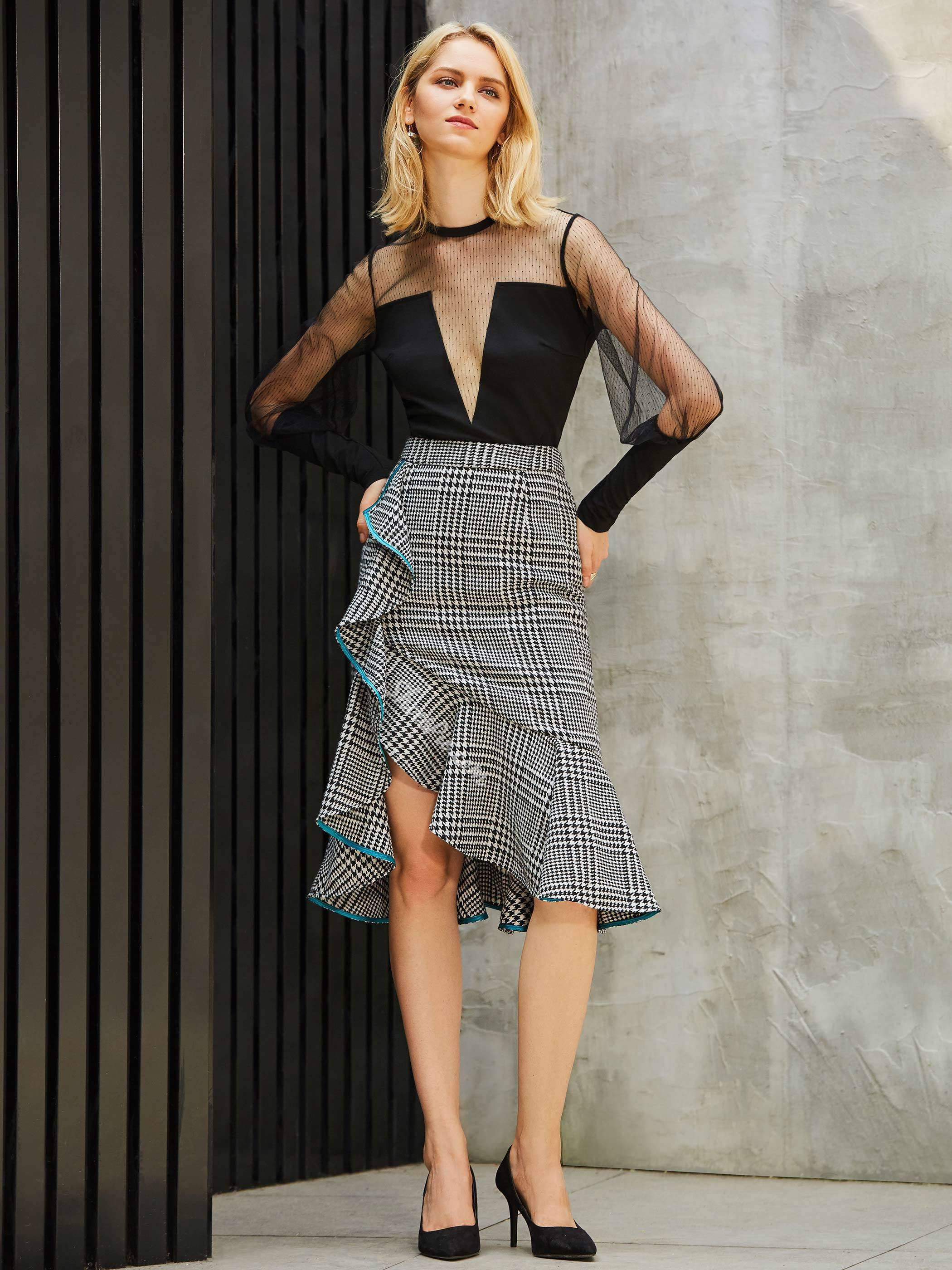Plaid Asymmetrical Mid-Calf High-Waist Women's Skirt