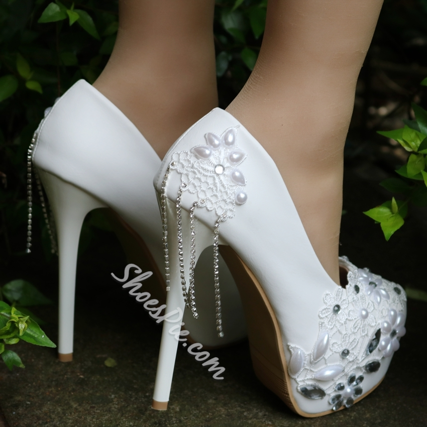 White Floral Rhinestone Fringe Wedding Shoes