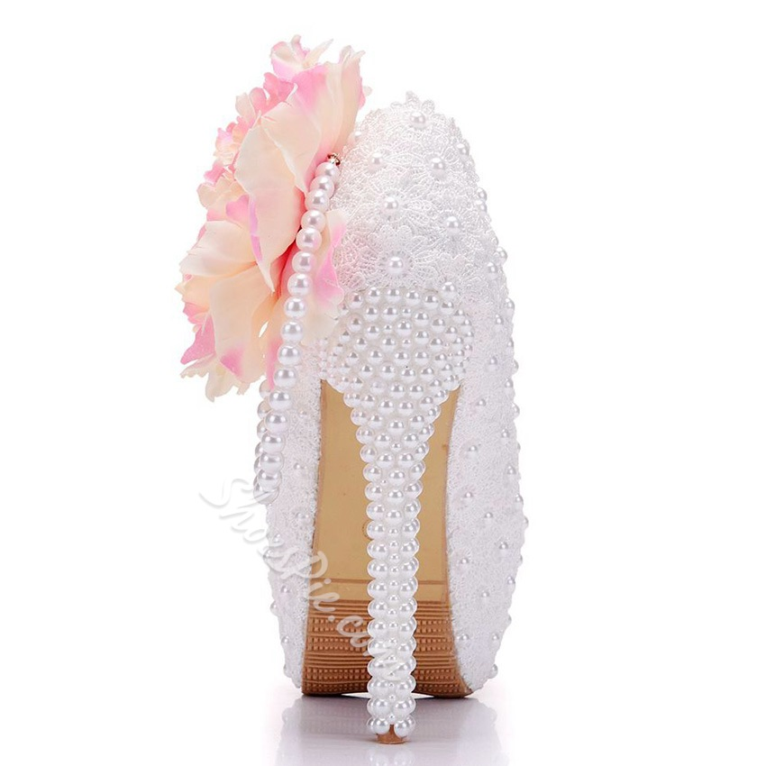 Floral Beads Platform Slip-On Wedding Shoes