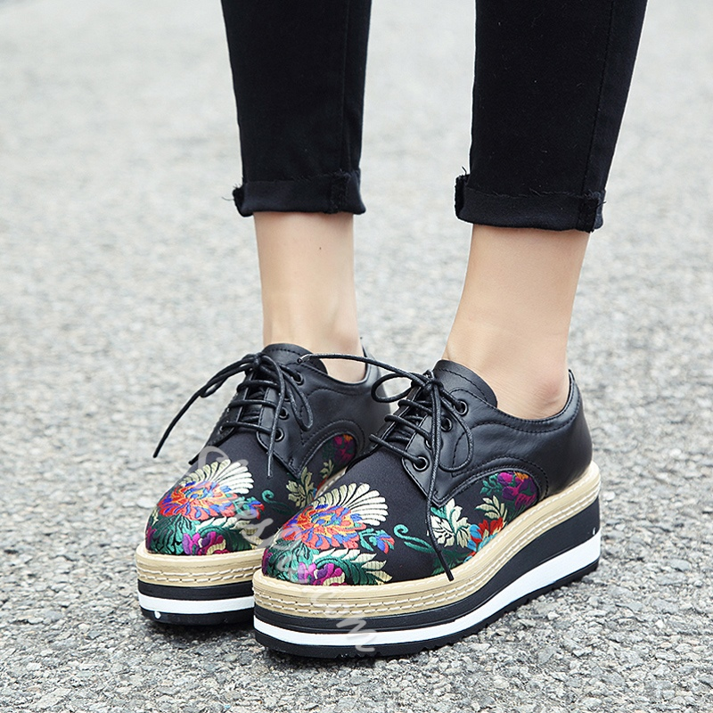 Floral Platform Lace-Up Women's Shoes