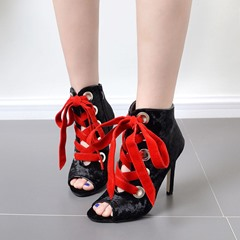 Peep Toe Lace-Up Stiletto Heel Ankle Boots