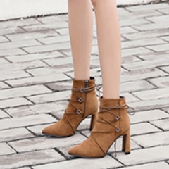 Cross Strap Lace-Up Chunky Heel Boots