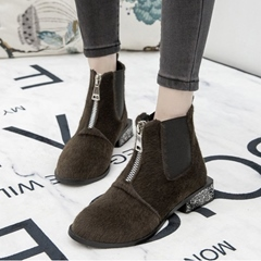 Casual Block Heel Front Zipper Boots