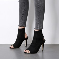 Black Slip-On Stiletto Heel Open Toe Boots