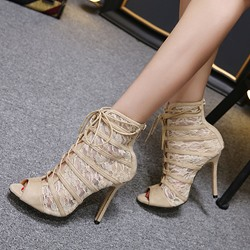 Peep Toe Lace Stiletto Heel Cross Strap Boots