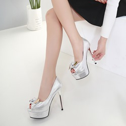 Solid Color Bow Platform Stiletto Heels