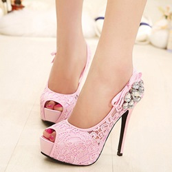 Rhinestone Platform Slip-On Stiletto Heels