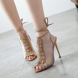 Fringe Peep Toe Stiletto Heel Lace-Up Boots