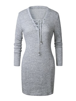 Knee-Length Lace-Up Long Sleeve Pullover Women's Bodycon Dress
