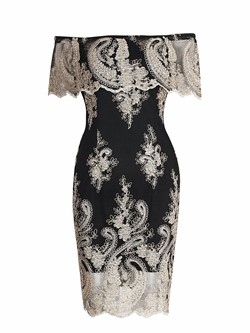 Embroidery Lace Slash Neck Bodycon Dresses