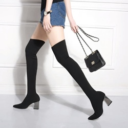Black Slip-On Chunky Heel Thigh High Boots