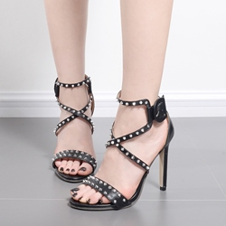 Open Toe Rivet Stiletto Heel Dress Sandals