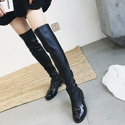 Round Toe Block Flat Heel Knee High Boots