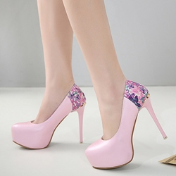 Floral Extreme High Stiletto Platform Heels