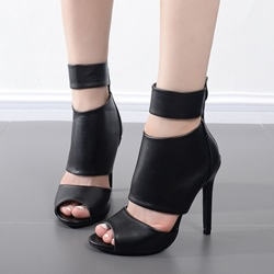 Black Peep Toe Stiletto Heel Boots