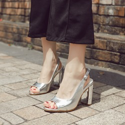 Peep Toe Buckle Chunky Heel Shoes