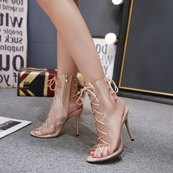 Cross Strap Stiletto Heel Hyaline Peep Toe Boots