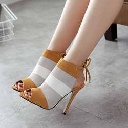 Peep Toe Color Block Stiletto Heel Lace-Up Boots