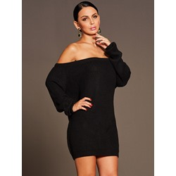 Slash Neck Backles Long Sleeve Bodycon Dresses