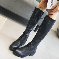 Cross Strap Platform Lace-Up Block Heel Knee High Boots