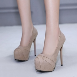 Solid Color Platform Slip-On Stiletto Heels