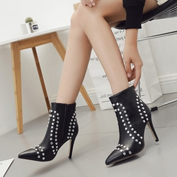 Sexy Black Rivet Stiletto Heel Boots