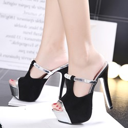 Black Rhinestone Stiletto Heel Women's Mules