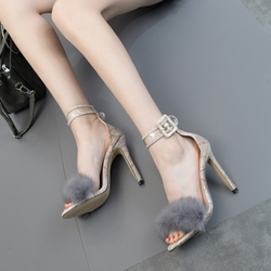Short Floss Buckle Stiletto Heel Sandals