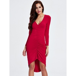 Asymmetric V-Neck Bodycon Dresses