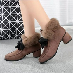 Bow Chunky Heel Fashion Boots