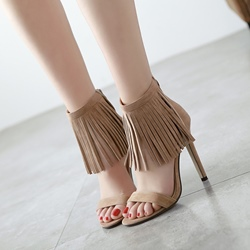Fringe Heel Covering Stiletto Heel Sandals