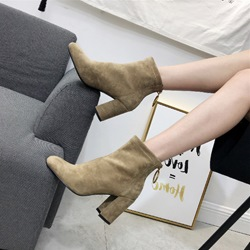 Back Zip Chunky Heel Fashion Boots