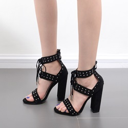 Black Rivet Lace-Up Women's Shoes