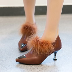 Fuzzy Spool Heel Sequin Slip-On Boots