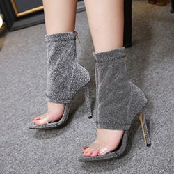 Glitter Open Toe Hollow Stiletto Heel Boots